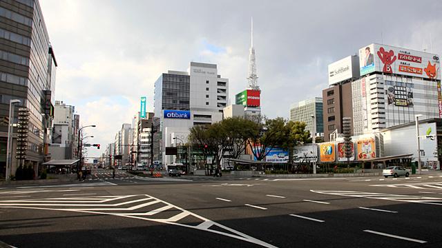 現在の栄交差点 北側 東北角(名古屋日銀名古屋支店跡)は現在でも空地になっている。