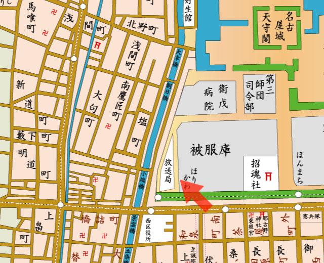 矢印の方向からHK名古屋放送局(JOCK)を撮影