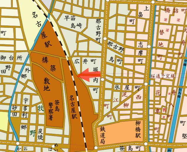 矢印の方向から名古屋駅を撮影