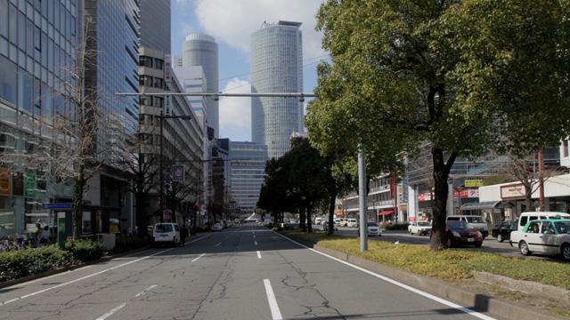 現在の名古屋駅前桜通