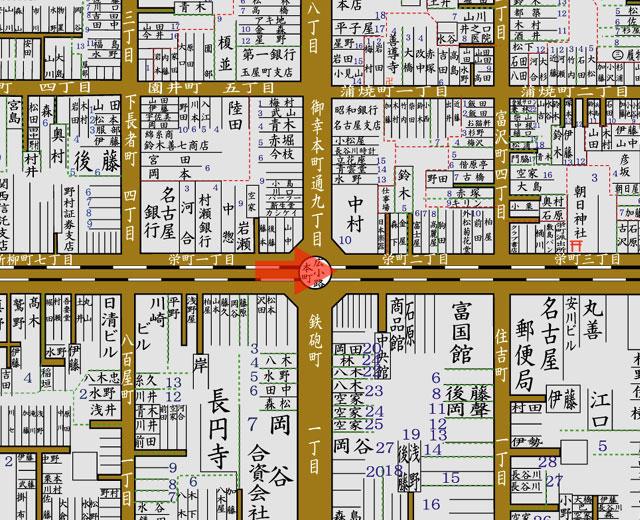 矢印の方向から御大典奉祝名古屋博覧会記念凱旋門を撮影