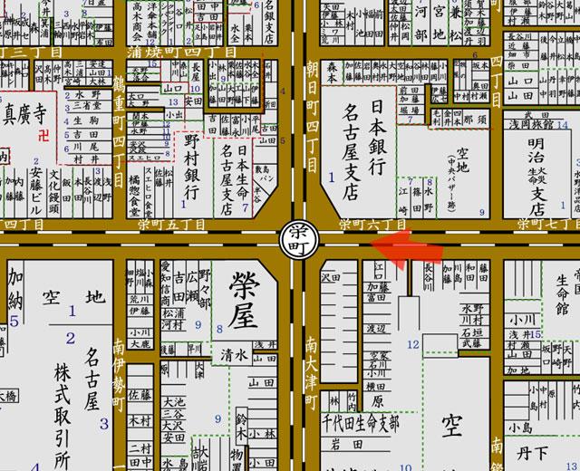 矢印の方向から栄町停車場付近を撮影