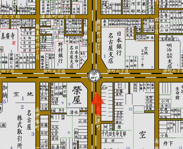 矢印の方向から栄町交差点を撮影