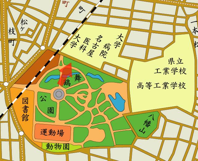 矢印の方向から名古屋医科大学(名古屋大学医学部前身)を撮影