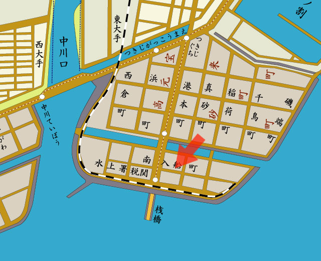矢印の方向から名古屋港を撮影