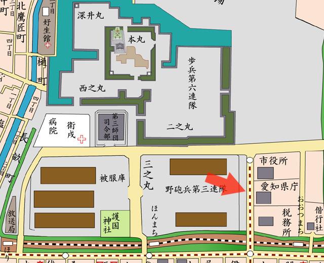 矢印の方向から愛知県庁(を撮影