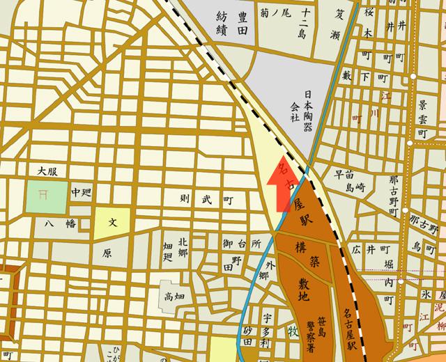 矢印の方向から日本陶器株式会社を撮影