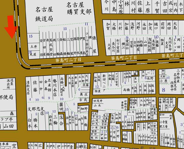 矢印の方向から移転前の名古屋駅を撮影(昭和8年住宅地図)