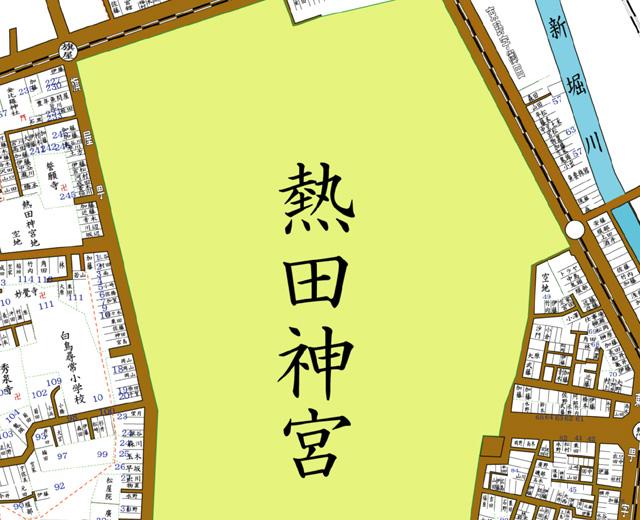矢印の方向から熱田神宮を撮影
