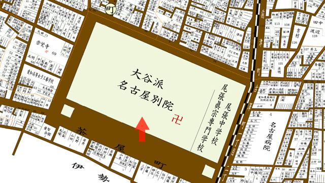 矢印の方向から東本願寺別院を撮影