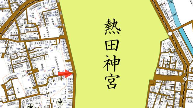 昭和8年 住宅地図 矢印の方向から熱田神宮鎮皇門を撮影