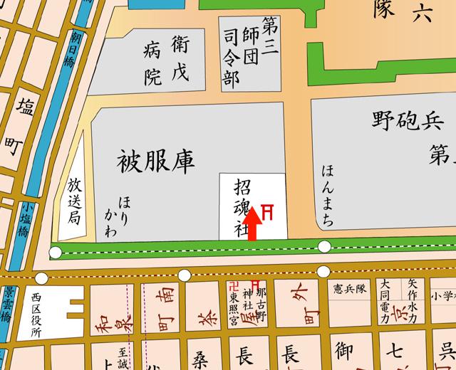 矢印の方向から愛知県護国神社を撮影