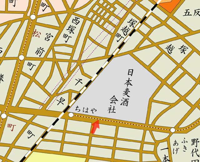 昭和8年地図 矢印の方向から撮影