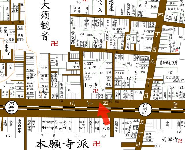 矢印の方向から七ッ寺を撮影