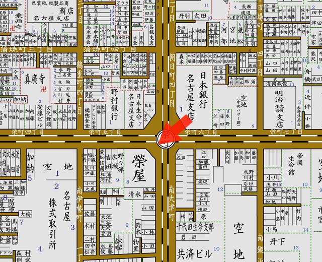矢印の方向から栄町停車場付近を撮影 昭和8年住宅全図