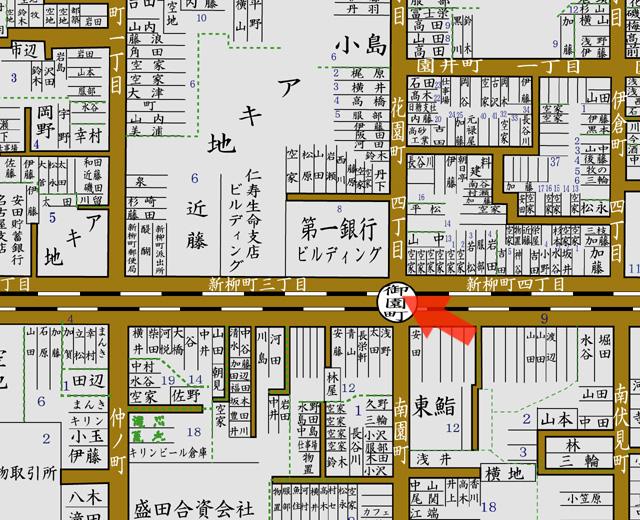 矢印の方向から第一銀行名古屋支店を撮影