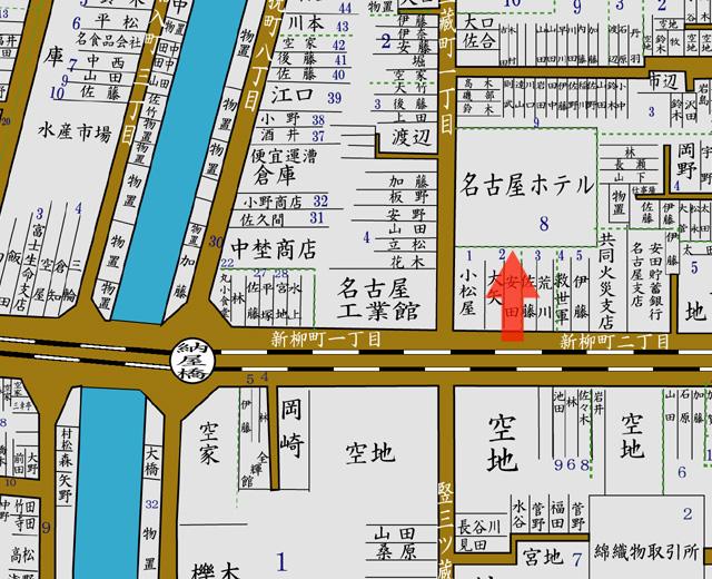 矢印の方向から名古屋ホテルを撮影