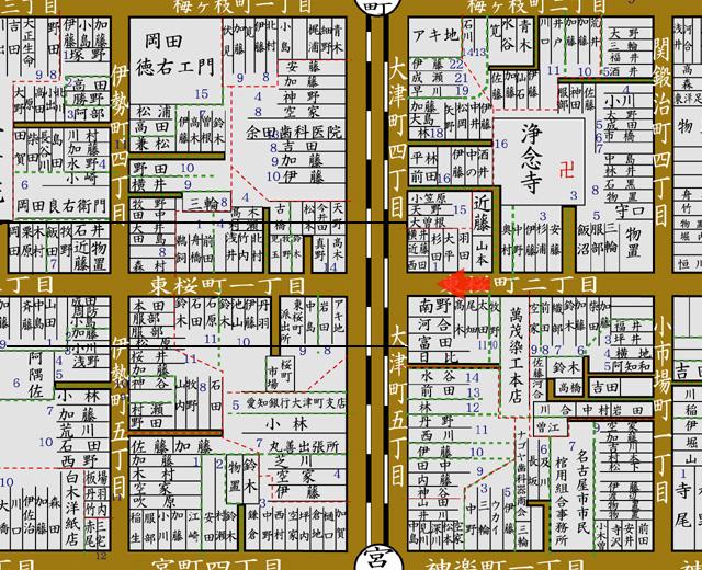 昭和8年 住宅地図 矢印の方向から撮影