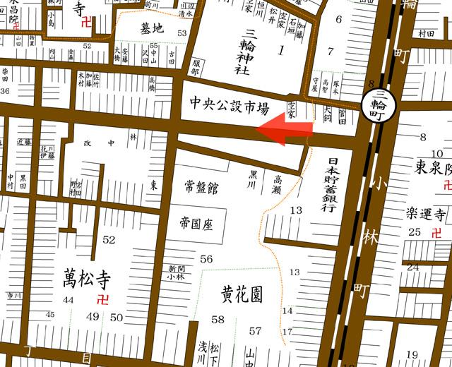 矢印の方向から赤門通を撮影(昭和8年住宅地図)