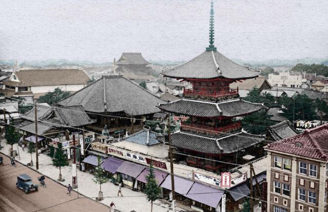 大須七ッ寺と岩井通 デジタル着色