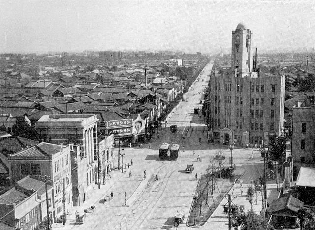 広小路東新町交差点付近 昭和15年頃