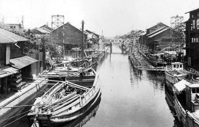 堀川 桜橋建設の様子