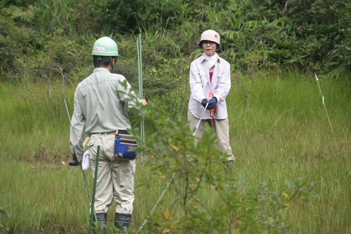 前回調査時と同じ位置に植生調査用の杭を挿していく(2009年)
