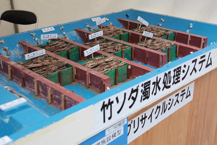 竹ソダ(竹枝の束)を使った濾過装置の模型展示