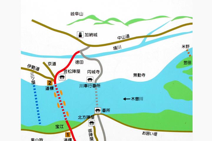 笠松周辺の渡船場と街道