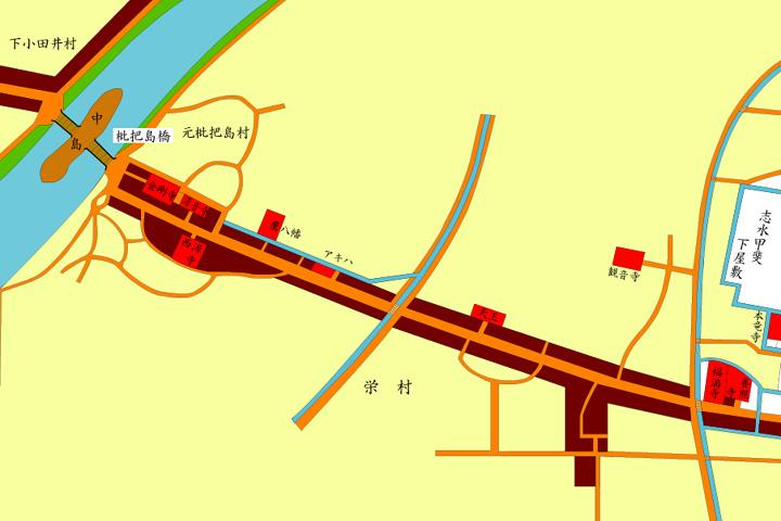 尾府全図枇杷島橋周辺と美濃路