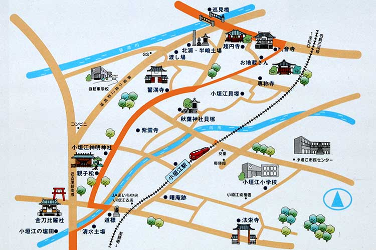 小垣江周辺の史跡(刈谷市制作の案内板)