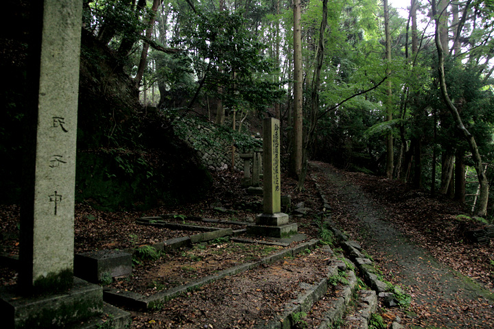 神社から石畳の坂を上る