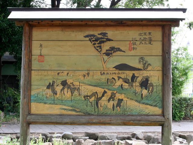 馬市の跡- この一帯では、江戸時代には、馬が数百頭も集まる馬市が開かれていた