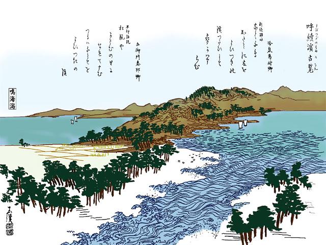 呼続浜古覧- 尾張名所図会(イメージ着色)
