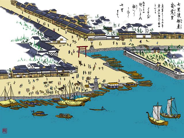 七里渡船場 - 尾張名所図会(イメージ着色))
