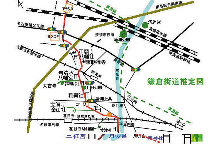 甚目寺北部の鎌倉街道推定図