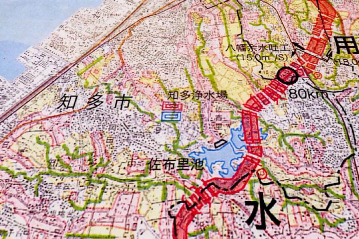 佐布里池付近の地図
