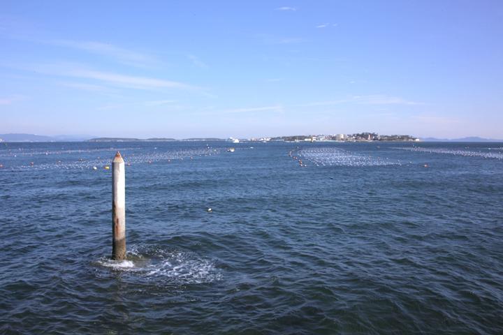 鉛筆状の杭の下を日間賀島の方向に通水されている愛知用水支流