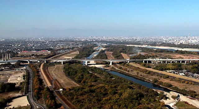 左手上羽島市方面