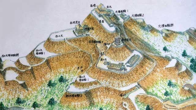 足助城(真弓山城) 作画:川端義憲