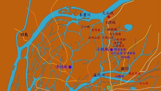 小牧長久手の戦い初戦陣地図