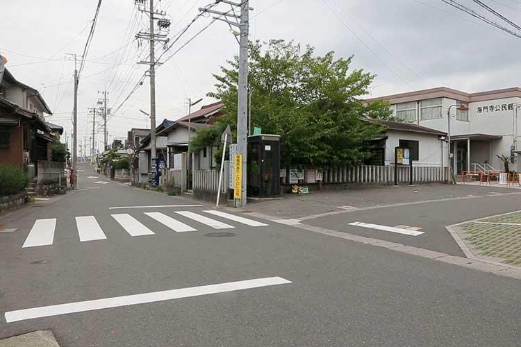 富吉神社前(このあたりが当時の海岸線)