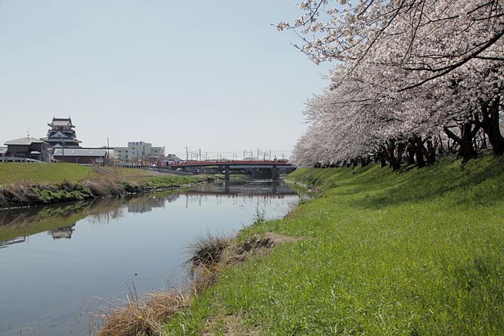 五条川と清須城(清須市)