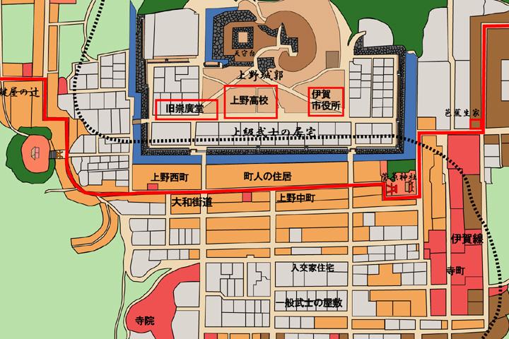 江戸時代中頃の伊賀上野城下