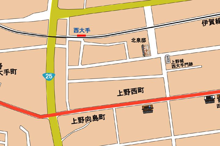 現代上野向島町・西町周辺地図