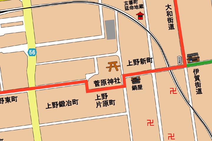 現代鍛冶町・片原町・新町周辺地図