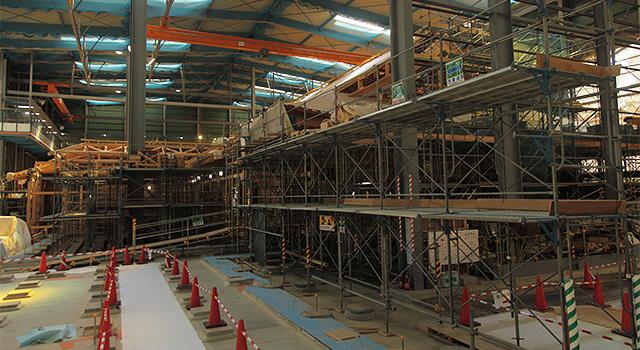 2013年5月29日公開に向けて工事が行われている玄関・表書院