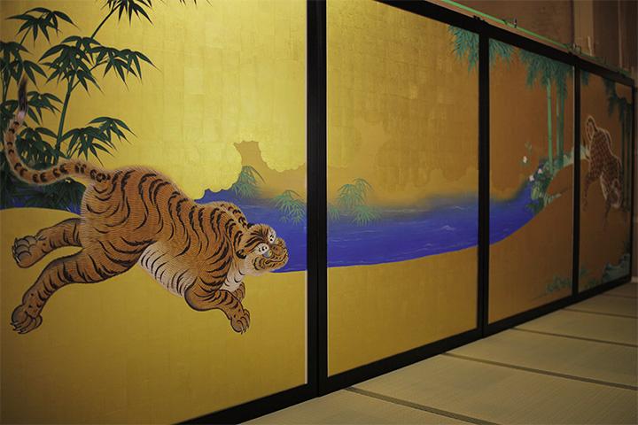 障壁画「竹林豹虎図」の復元模写作品