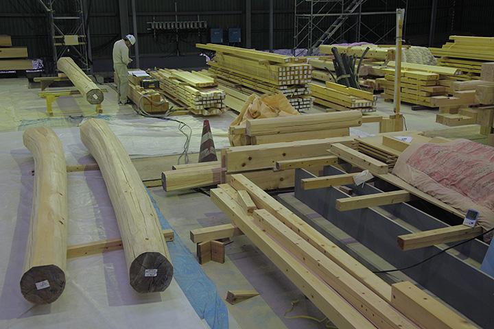 木材加工場奥