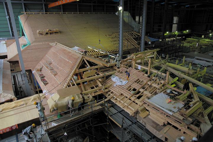 工事の進む表書院と溜之間(2012年12月15日)